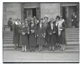 Group of unidentified women in front of Multnomah County Central Library, Portland