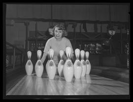 Marilyn Porter with bowling pins