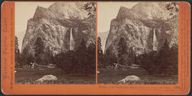"""Pohono, or the Bridal Veil, 900 feet, from the Coulterville Trail, Yosemite Valley, Maripos..."