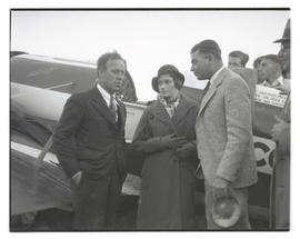 Pilots Frank M. Hawks, Dorothy Hester, and Tex Rankin at Swan Island airport, Portland