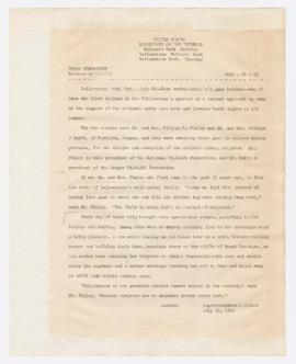 Memorandum discussing Irene and William Finley filming in Yellowstone Park