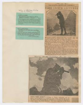 "Advertisements for William Finley's books and article discussing ""Camera hunting on the cont..."