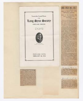 Program and articles discussing William Finley's lectures and 21st Annual Dinner of the Lang Syne...