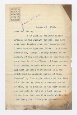 Letter to William L. Finley from Houghton Mifflin