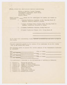 Registration sheet listing meals and sections for the Commonwealth Conference at the University o...
