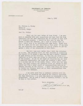 Letter from Philip Parons recommending the formation of a committee to make suggestions to the Or...