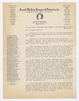 Izaak Walton League Correspondence, April 29, 1935
