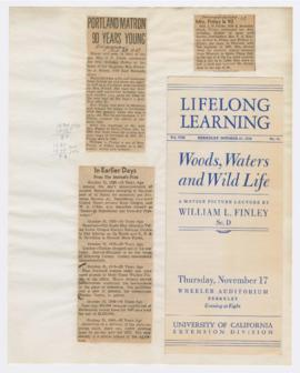 "Program for ""Woods, waters and wildlife"" lecture and articles announcing Mrs. J. P. Fin..."
