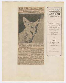 "Advertisement for ""Oregon's outdoors"" lecture and article discussing coyotes in Oregon"