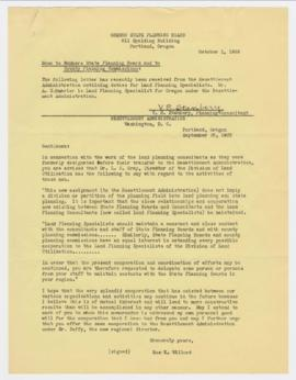 Letter discussing the transfer of Land Planning Specialists to the Resettlement Administration