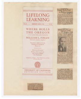Program and articles discussing William Finley lectures