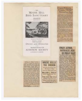 "Program, advertisement, and articles discussing ""Where rolls the Oregon"" lecture"