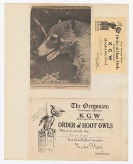Image of Coati and Order of Hoot Owls membership card
