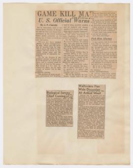 Articles discussing Ira N. Gabrielson visit and 8th Annual State Convention of the Izaak Walton L...