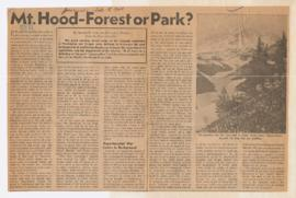 Article discussing debate over establishing Mount Hood as a national park