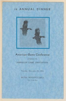 Program for 19th American Game Conference Dinner