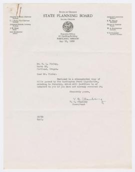 Correspondence and copies of bills passed by Washington legislature discussing forestry, duties o...