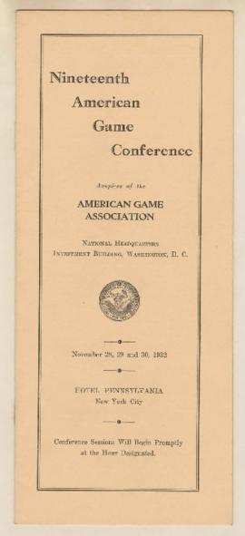 Program for 19th American Game Conference