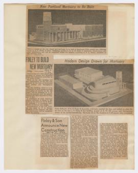 Articles discussing construction of J. P. Finley & Son Mortuary in Portland