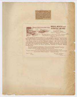 "Advertisements for ""Where rolls the Oregon"" and ""Birds, bergs and Kodiak bears&quo..."