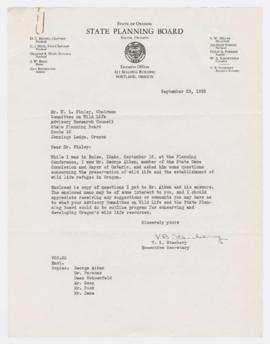 Letter and memorandum discussing questions posed by V. B. Stanbery regarding Oregon wildlife cons...
