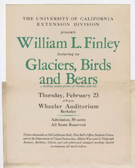"Advertisement for ""Glaciers, birds and bears"" lecture"