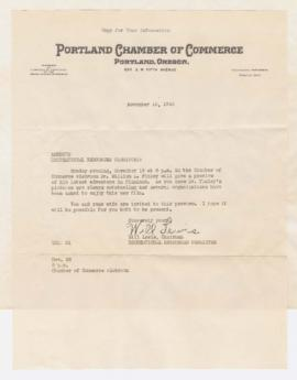 Correspondence promoting William Finley lecture