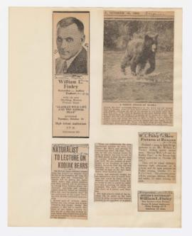 "Advertisement and articles discussing ""Alaskan wild life and the Kodiak bear"" lecture"