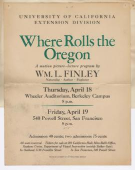 "Advertisement for ""Where rolls the Oregon"" lecture"