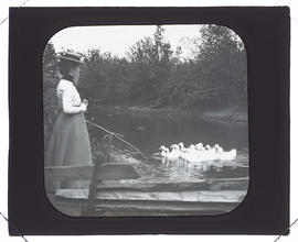 Maud Bohlman? with ducks